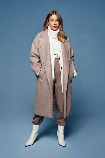 Womens Beige So Long Oversized Coat