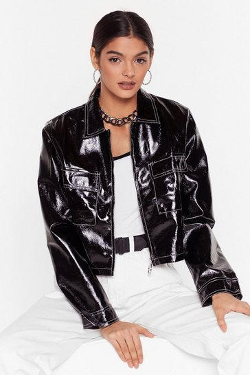 Womens Black Stitch an Idea Vinyl Cropped Jacket