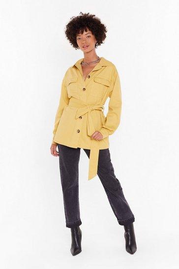 Mustard It's Not Pocket Science Belted Denim Jacket