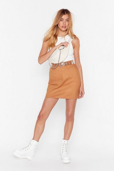 Womens Camel A Little Denim Mini Skirt