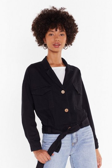Womens Black Belt Years of Our Lives Button-Down Denim Jacket