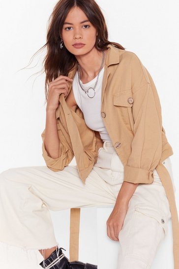 Taupe Belt Years of Our Lives Button-Down Denim Jacket