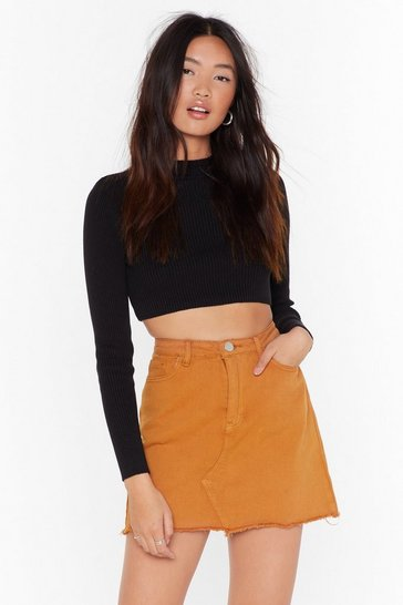 Mustard When All is Shred and Done Distressed Denim Skirt