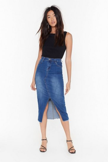 Womens Blue Split It Out Denim Midi Skirt