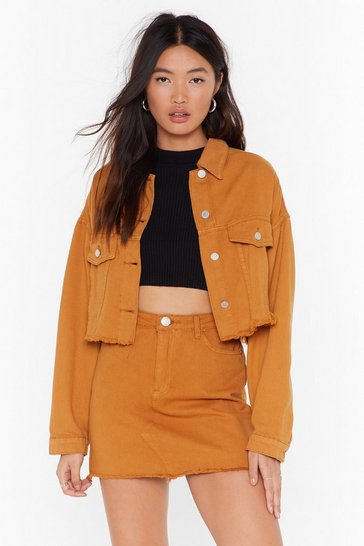 Womens Mustard When All is Shred and Done Distressed Denim Jacket