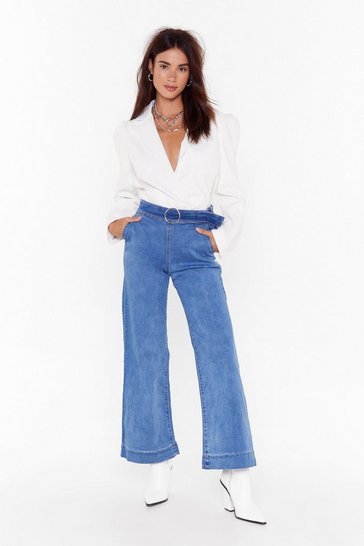 Womens Blue Keep Up Wide-Leg Denim Jeans