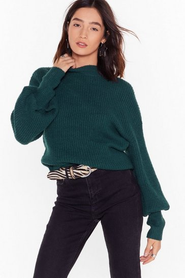 Womens Green We're Warming You Ribbed Knit Sweater