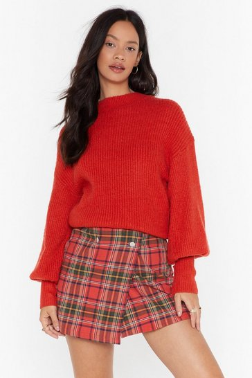 Red We're Warming You Ribbed Knit Sweater