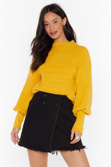 Womens Yellow We're Warming You Ribbed Knit Sweater
