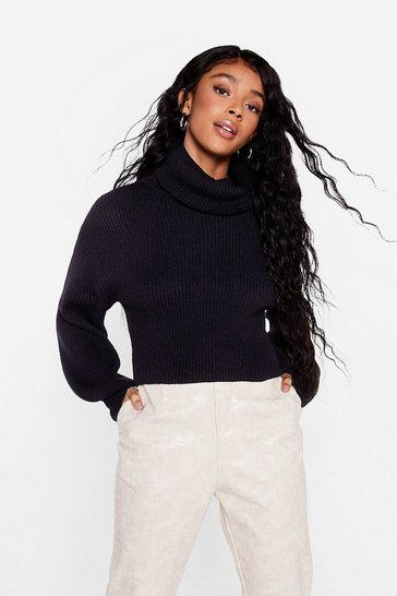 Black Puff Sleeve Turtleneck Sweater with Fitted Cuffs