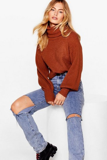 Camel Puff Sleeve Turtleneck Sweater with Fitted Cuffs