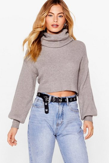 Grey Puff Sleeve Turtleneck Sweater with Fitted Cuffs