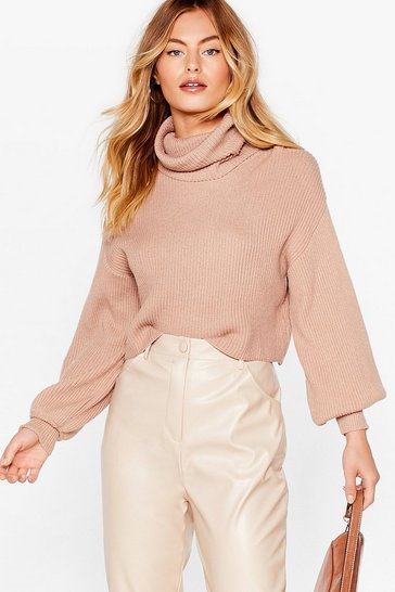 Taupe Puff Sleeve Turtleneck Sweater with Fitted Cuffs