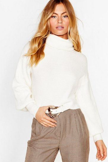 White Puff Sleeve Turtleneck Sweater with Fitted Cuffs