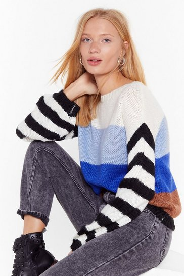 Womens Blue My Ideal Stripe Knit Drop Sleeve Jumper