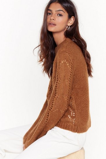 Womens Brown Different Pointelle of View Knitted Sweater