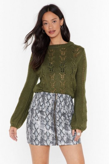 Khaki Different Pointelle of View Knitted Sweater