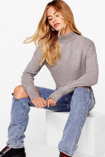Grey Ain't No Croppin' Us Knitted High Neck Sweater