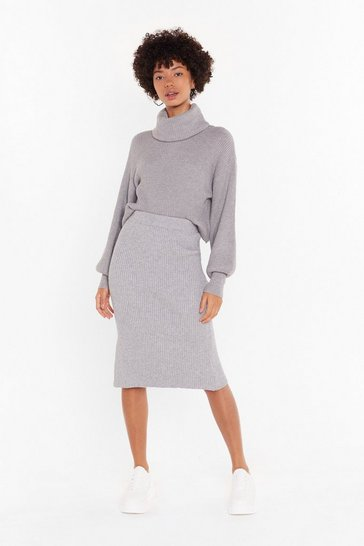 Womens Grey Ain't Knit the Life Ribbed Knitted Midi Skirt