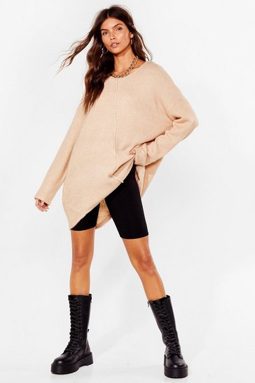 Beige Relaxed Knit Sweater with Crew Line