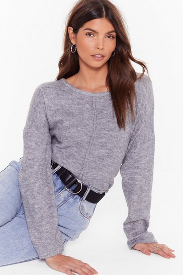 Womens Grey Easy as it Seams Relaxed Knit Sweater