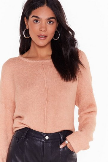 Pink Relaxed Knit Sweater with Crew Line