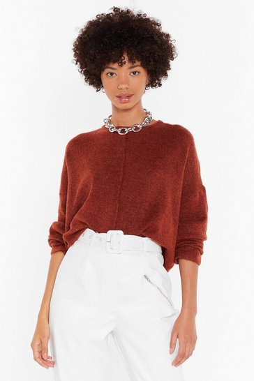Rust Relaxed Knit Sweater with Crew Line