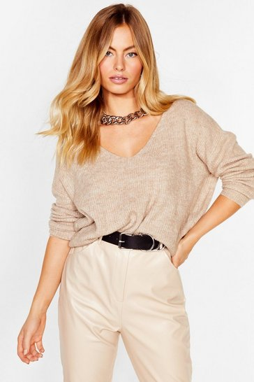 Beige Now You V It Knitted V-Neck Sweater