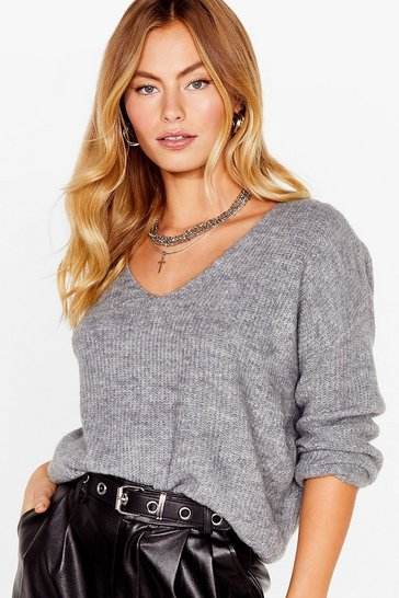 Womens Grey Now You V It Knitted V-Neck Sweater