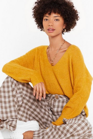 Womens Yellow Now You V It Knitted V-Neck Sweater