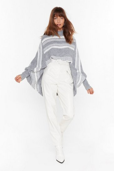 Womens Grey Stripe Where I Belong Batwing Knit Sweater