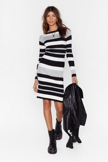 Womens Grey On the Horizon Striped Knit Dress