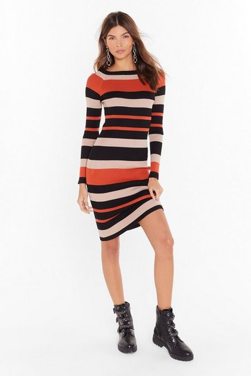 Womens Rust On the Horizon Striped Knit Dress