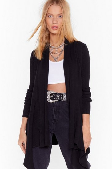 Womens Black Thought About Knit Ribbed Longline Cardigan
