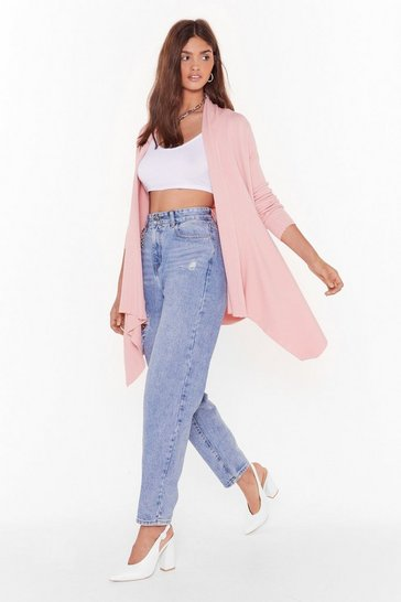 Pink Thought About Knit Ribbed Longline Cardigan