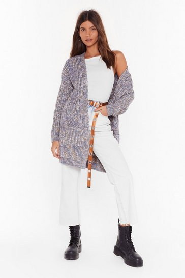 Womens Blue Knit's Made a Comeback Marl Longline Cardigan