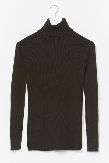 Forest Ribbed and Fitted Silhouette Turtleneck Sweater