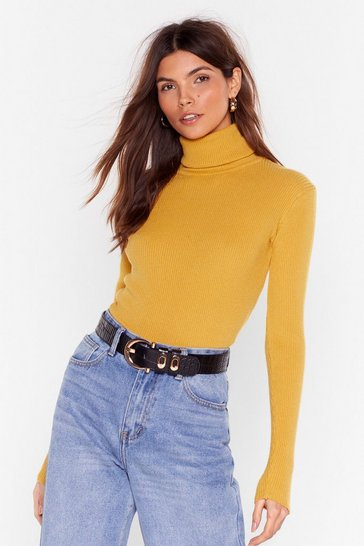 Womens Mustard I Neck Your Pardon Turtleneck Sweater