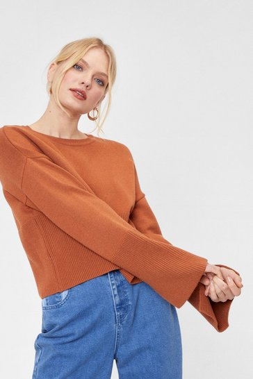 Womens Camel Another Knit Cropped Sweater