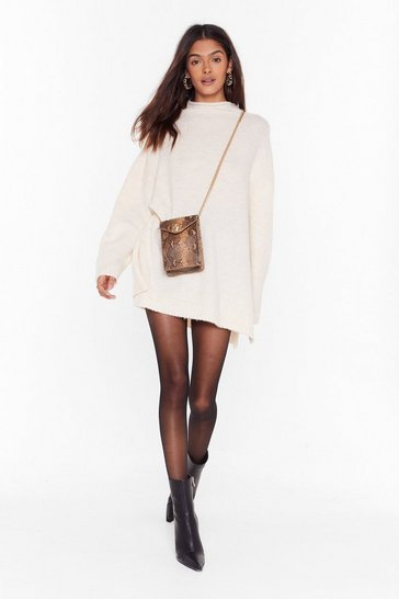 Womens Beige Knit's Never Enough Drop Sleeve Sweater Dress