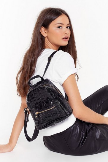 Womens Black WANT Just Can't Croc Faux Leather Backpack