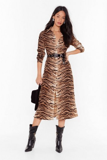 Womens Beige Easy There Tiger Button-Down Midi Dress