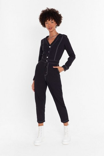 Womens Black Been Stitched Up Denim Boilersuit