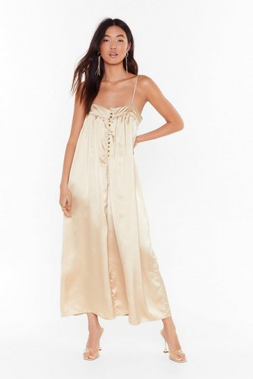 Gold Sleek to My Heart Satin Wide-Leg Jumpsuit