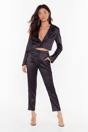 Womens Black Sleek the Truth Satin Tapered Pants