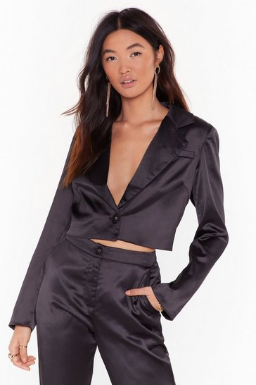 Womens Black Sleek the Truth Satin Cropped Blazer