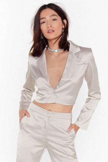 Womens Stone Sleek the Truth Satin Cropped Blazer