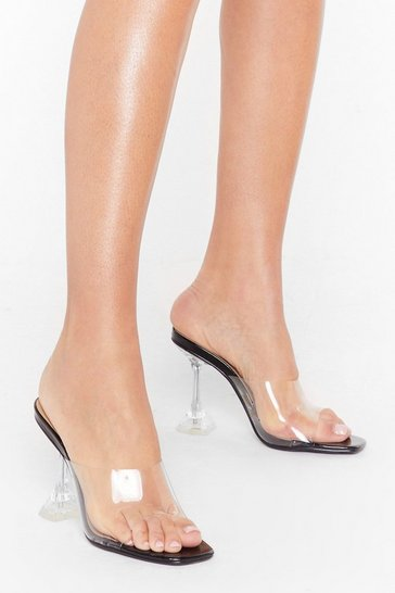 Black Clear Off Faux Leather Stiletto Mules
