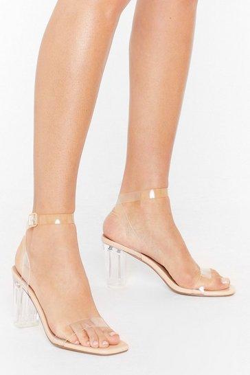 Nude Gotta Clear Idea Faux Leather Heels