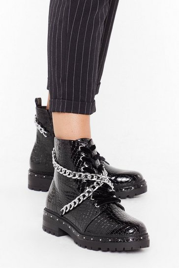 Black Time For Chain-ge Faux Leather Croc Boots
